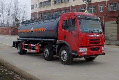 解放小三轴14.2方腐蚀性物品罐式运输车
