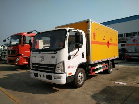 解放4.15米易燃气体厢式运输车